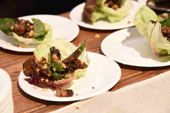 BBQ pork belly lettuce cups