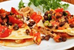 chicken quesadilla with black bean salsa