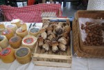 Cheese, Mushrooms (Boletus) And Walnuts In Traditional Market of Tolosa