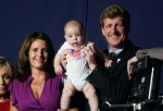 Kennedy and his wife Petitgout pose with their four-month-old baby Owen Patrick Kennedy at the 2012 Democratic National Convention in Charlotte