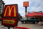 A car pulls out of the parking lot at a McDonald's restaurant on July 22, 2013 in San Francisco, California.