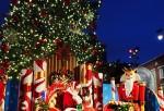 Santa Claus with a girl on a sleigh