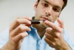 Man checking his blood sugar