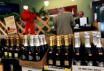 Bottles of sparkling wine are seen on display at a Costco store