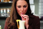 Catherine, Duchess of Cambridge tries a smoothie called the 'Duchess'