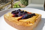 Cheese toast with blueberry syrup