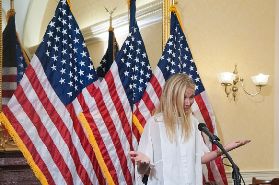 Actress Gwyneth Paltrow speaks during a news conference to discuss opposition to H.R. 1599 on August 5, 2015 in Washington, DC. H.R.1599, known as the 'Deny Americans the Right to Know (DARK)