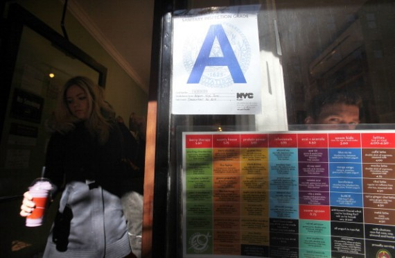 A Manhattan restaurant rated with a Health Department 'A' grade is seen March 7, 2011 in New York City. Preliminary results from the initial six months of the city's new restaurant health grading system indicate that restaurants are taking steps to improv