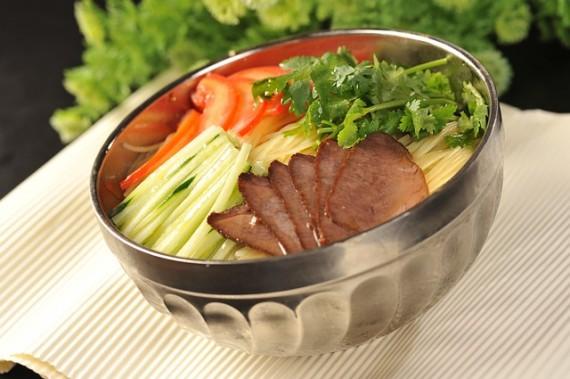 Korean cold noodles bacon coriander